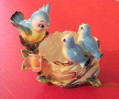 VINTAGE NORCREST MAMA BLUEBIRD w/CHICKS ON NEST PLANTER #NorcrestChinaCompany