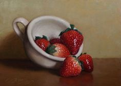 """""""Cup of Strawberries"""" Still Life Painting by Debra Becks Cooper. This is an original unframed oil painting on Ampersand hardboard in. A signed certificate of authenticity is included. Oil Painting For Beginners, Oil Painting For Sale, Paintings For Sale, Oil Paintings, Painting Still Life, Still Life Art, Sketch Painting, Painting Tips, Painting Art"""