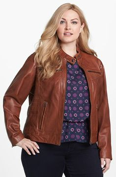 1f402356d3 Genuine Leather. Bernardo Tab Collar Leather Jacket (Plus Size) available at