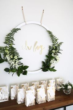 Oh boy / baby greenery hoop baby shower idea