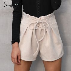 Aliexpress.com : Buy Simplee Lace up suede faux leather shorts women Casual high waist shorts female 2017 loose soft winter shorts women bottoms from Reliable shorts female suppliers on Simplee Apparel