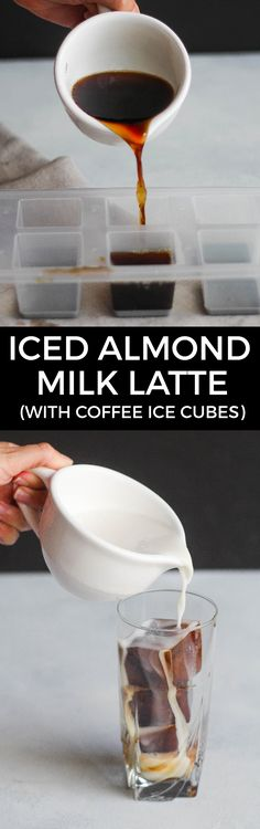 Iced Almond Milk Latte (with Coffee Ice Cubes) for Iced coffee, make coffee Ice, for melting purposes. Coffee Latte, Iced Coffee, Coffee Drinks, Coffee Shop, Coffee Icing, Iced Latte, Coffee Lovers, Coffee Tables, Coffee Maker