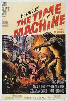 The 1960 classic sci-fi movie poster. This is the H.G. Wells' first masterpiece in 1895 that adapted successfully into a film. An Englishman travels to the far future and finds that humanity has divided into two species, Eloi and Morlocks.
