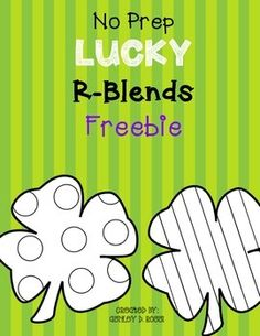 FREE!! No Prep- 2 pages of St. Patrick's Day R Blends for Articulation in Speech Therapy.Color the clover as you say your target sound. The following R Blends are targeted in this quick, no prep activity:/cr/, /tr/, /pr/, /gr/, /fr/, /br/ This would be great homework or for phonics centers also. - repinned by @PediaStaff – Please Visit ht.ly/63sNt for all our pediatric therapy pins