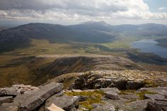 A view to Ardvreck Castle and Loch Assynt.  From Spidean Coinich, on Quinag, Sutherland, Scotland.