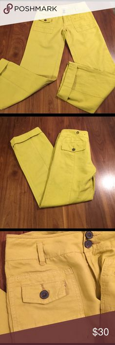 Hei Hei pants, size 4 Butter yellow, awesomely cute pants. Waist measures 15.5 across, inseam is 31 ( looks super cute rolled). Hei Hei  Pants Straight Leg