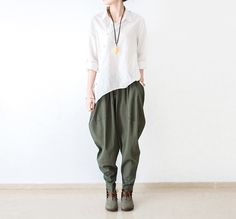 Linen pants loose harlan wide-legged pants boot pants army pants   #pants #dress #linendress #loosepants #linen