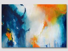 Original large XXL abstract painting, modern fine art, original work of art, dark blue turquoise orange, colorful acrylic painting on canvas