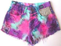 Versace Tie Dye On sale now Diy Shorts, Tie Dye Shorts, Cute Shorts, Pastel Goth Outfits, Girly Outfits, Cool Outfits, Rave Outfits, Diy Clothes And Shoes, Studded Shorts