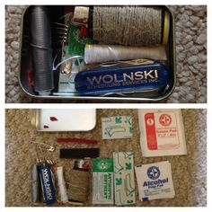 Mini survival kit. Fits into an altoids tin. Is it weird that i want to make one? Haha!