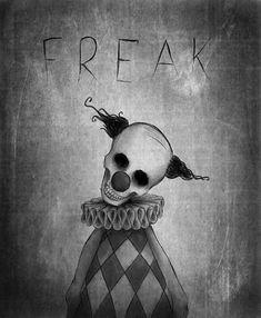f r e a k by Xostie on deviantART Creepy Drawings, Dark Art Drawings, Halloween Drawings, Art Drawings Sketches, Sketch Art, Halloween Art, Cool Drawings, Scary Clown Drawing, Dark Art Illustrations