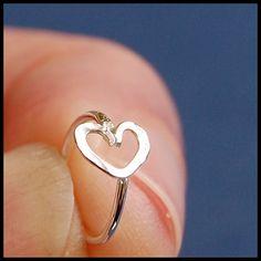 Cartilage Hoop / Tragus Hoop / Helix Hoop / Hammered Heart in Sterling Silver on Etsy, $19.95