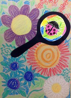 Kinders started working on some Spring-inspired pictures this week. We looked at some of Henri Rousseau's artwork and lots of pictures of beautiful flowers. We also discussed our favorite bugs/spid. Insect Crafts, Insect Art, Kindergarten Art Lessons, Art Lessons Elementary, Minibeast Art, Spring Art Projects, 2nd Grade Art, Bug Art, Ecole Art