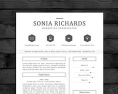 modern resume template for word edit all text font icons 3 pages - Cover Letter Resume Template