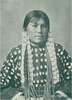 Rose White Thunder, Daughter of Sioux Chief White Thunder, in Elk Tooth Dress, Carlisle (1883 - 1887) Image from J. N. Choate, photographer, Carlisle, Pa.