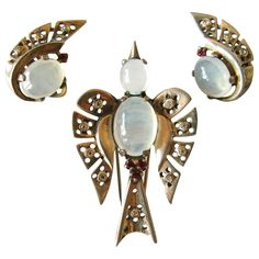 Trifari Sterling Deco Alfred Philippe Moonstone Bird Fur Clip & Earrings Set Patent 1940's /All pieces are signed TRIFARI with crown, STERLING and Pat Pend. /395