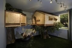 Yes...a treehouse inside...why not?  What a fun boys bedroom inspired by his love for the magic treehouse series of childrens books.  The bed is inside the tree house with a rope ladder in the far corner and a bridge to take him to his look out tower and of course a tire swing!  Faux grass turf in place of carpet is the final detail making this a true dream bedroom for any boy!