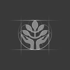 Icon GRID Logo presents dual idea - caring hands  tree. Icon is constructed of…