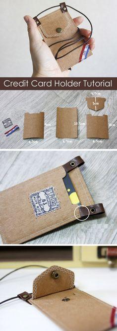Gift Card holder with kraft tex paper. DIY tutorial in pictures. http://www.handmadiya.com/2015/10/credit-card-holder-tutorial.html