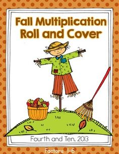 Fall Multiplication Roll and Cover {Freebie} Perfect for math centers or workstations!
