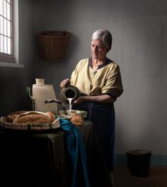 Made in Britton, 2011 photographed by Maisie Broadhead. Portrait of potter Alison Britton referencing Johan Vermeer's The Milkmaid.