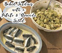 Baked sardines with a potato and avocado salad