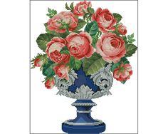 Ponto Cruz Em Pdf -Rosas em um Vaso Azul | Thimage - Ponto Cruz em PDF | Elo7