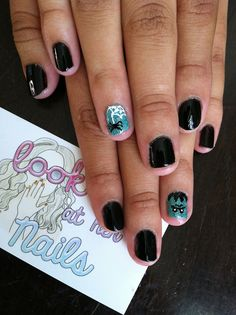 Glitter Frankenstein and spider web Halloween nail art for my roommate. by LookAtHerNails