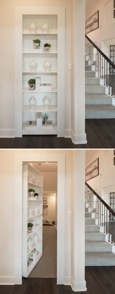 Secret Dog Playroom Behind Secret Bookcase Door Barking bookcase? This bookcase door and secret room was custom built into a home in House Design, House, Home, House Entrance, Basement Remodeling, House Plans, New Homes, Secret Rooms, Bookcase Door