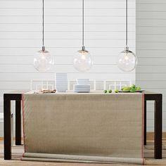 globe pendants, burlap tablecloth, white dishes... ahhhh perfection