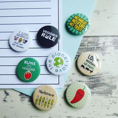 A set of Vegan & Vegitarian badges fresh off the workbench. Have you checked out our huge range of hand made badges?