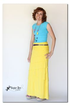 Sugar Bee Crafts: sewing, recipes, crafts, photo tips, and more!: Dress to Maxi Skirt - knit refashion