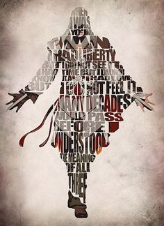 Assassin's Creed Inspired Poster - Ezio Auditore da Firenze from Assassin's Creed - Minimalist Illustration Typography Art Print & Poster