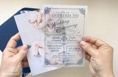 DIY translucent wedding invitation with vintage rose background | Download & Print