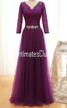 Purple V Neck Tulle Lace Floor Length Long Sleeve Prom Dress