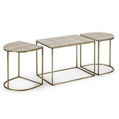 Tryptic Table in Ivory Grey Shagreen with Natural Brass