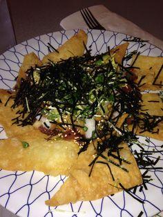 Nattochos (Japanese nachos) natto, yamaimo, avocado, poke, nori flakes on own ton chips