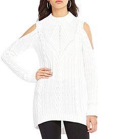 Jessica Simpson Riva Mock Neck Cold Shoulder CableKnit Sweater #Dillards