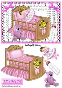 Sleeping baby girl in pink crib with lace and bows on Craftsuprint - Add To Basket!