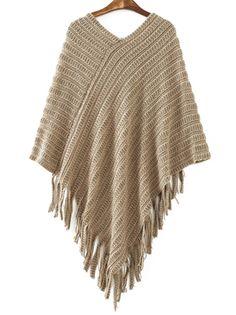 Brown V Neck Striped Patterned Tassel Cape