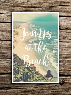 At the Beach Wedding Save the Date Postcard // by factorymade