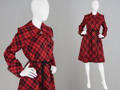 Vintage 60s does 40s JAEGER Red Wool Coat Tartan by ZeusVintage
