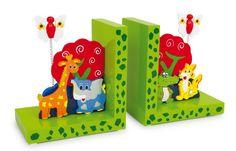 """Buchstützen """"Wilde Tiere"""". Diese Buchstützen verschönern jedes Regal im Kinderzimmer. Praktisch, da sie viele Bücher stützen und niedlich, da die Tiere darauf einfach toll aussehen. Mit diesen Stützen kippt nie wieder ein Buch um! Aus Holz."""