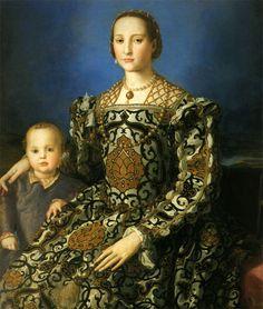 Portrait of Eleanor of Toledo or Leonor Álvarez de Toledo and her son Giovanni, 1545, Italian, artist Agnolo di Cosimo (Bronzino 1503-1572), Uffizi Gallery http://www.uffizi.com/