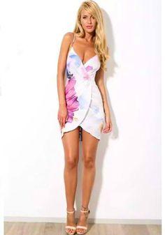 Summer bandage Sexy Spaghetti Strap Floral Printed Chiffon Dress
