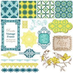 Vintage pattern ,lace,label and frames decor vector Collection 02