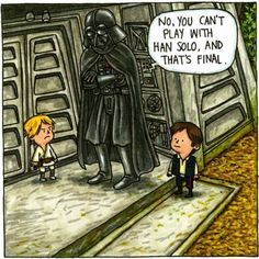 """source And so it has come, my children have discovered """"Star Wars"""". I was late to the Star Wars phenomenon, only having seen """"Star Wars IV: A New Hope"""" in about some Star Wars Comics, Star Wars Humor, Vader Star Wars, Star Wars Art, Star Trek, Sith, Darth Vader And Son, Father Knows Best, Star Wars Books"""