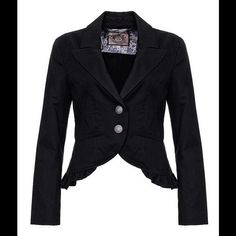 Black Juicy Couture cotton ruffle peplum blazer Black blazer jacket. Two button closure with antique-like military buttons. Size P for petite; I would say this fits XS best but also a S with smaller shoulders/arms. For reference, I'm a size 2 and this fits me perfectly, if not a tiny tiny bit snug. Worn once. Excellent military detailing on the buttons. Small peplum flourish at the bottom. Juicy Couture Jackets & Coats Blazers