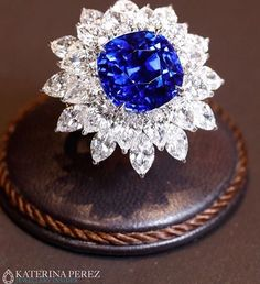 15ct Ceylon Sapphire set with marquise cut diamonds