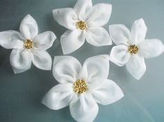 White Chiffon Flowers Handmade Appliques by BizimSupplies on Etsy, $15.00